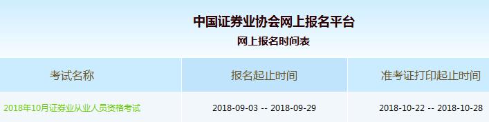 2018年10月证券从业资格考试准考证打印时间