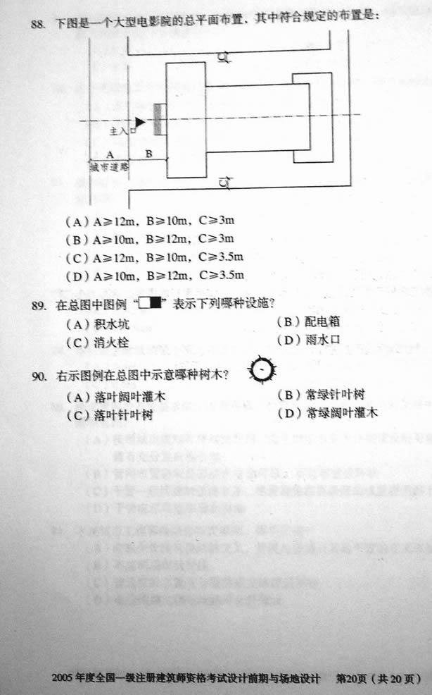 2005年一级注册建筑师设计园林与整版设计名都完真题济宁恒大场地前期设计公司图片