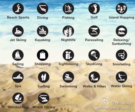 海边度假必备词汇;; 旅游英语海边运动爱好者必知的