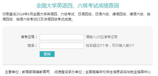 2014年6月英语四级成绩查询官网:学信网