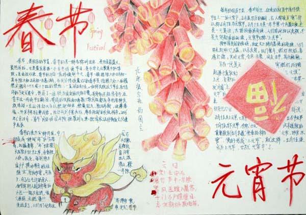 春节手抄报水粉一血