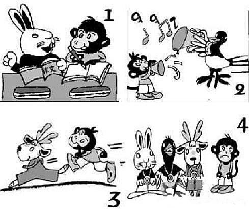 小学二年级看图写话 小猴学艺