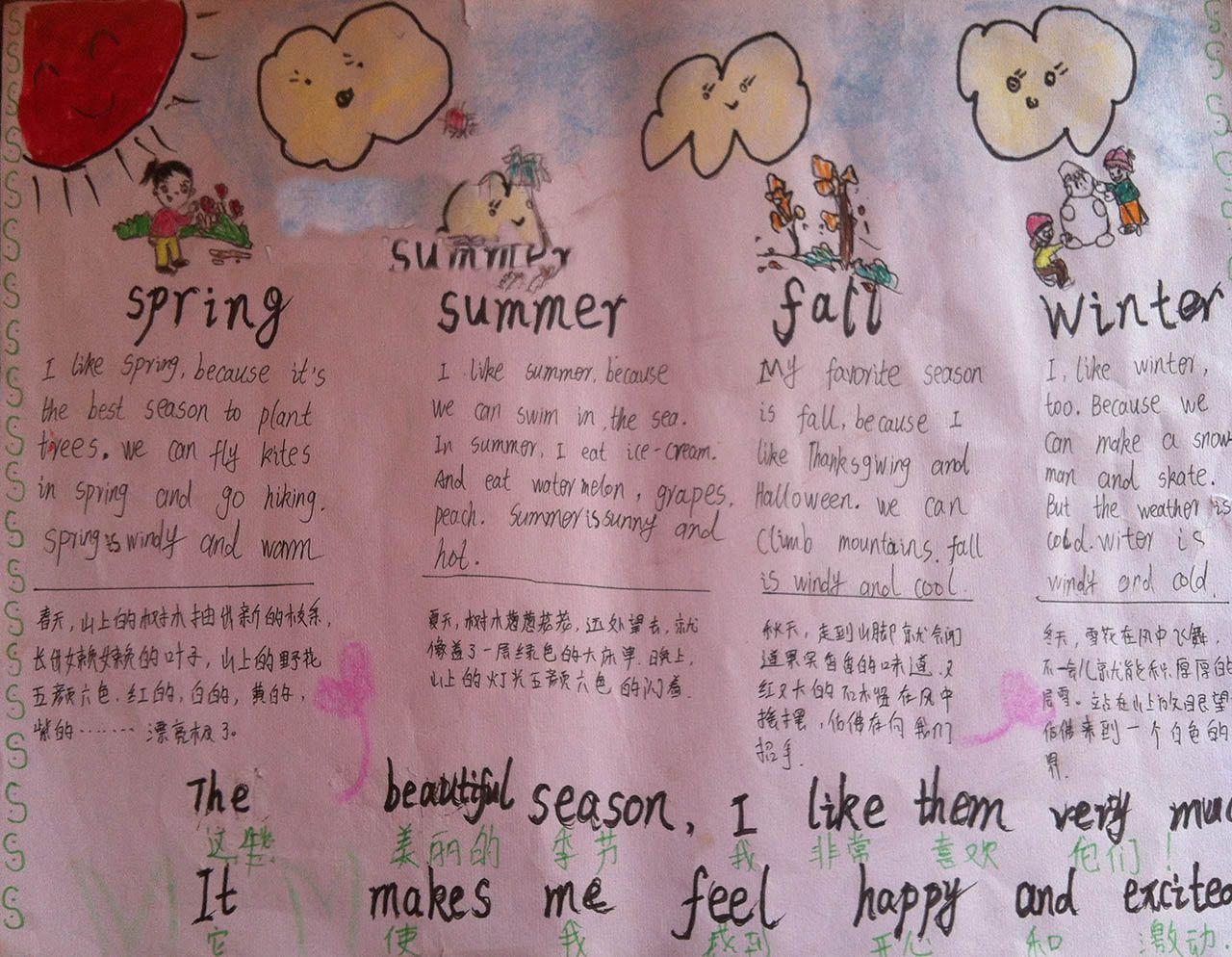 小学生关于四季的英语手抄报
