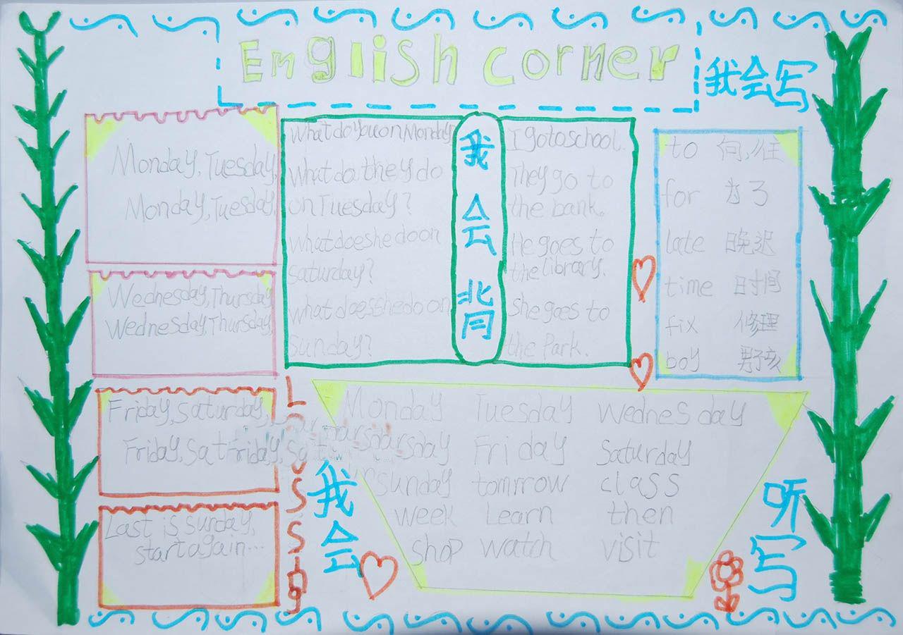 四年级英�y�b���9��_四年级英语手抄报大全展示