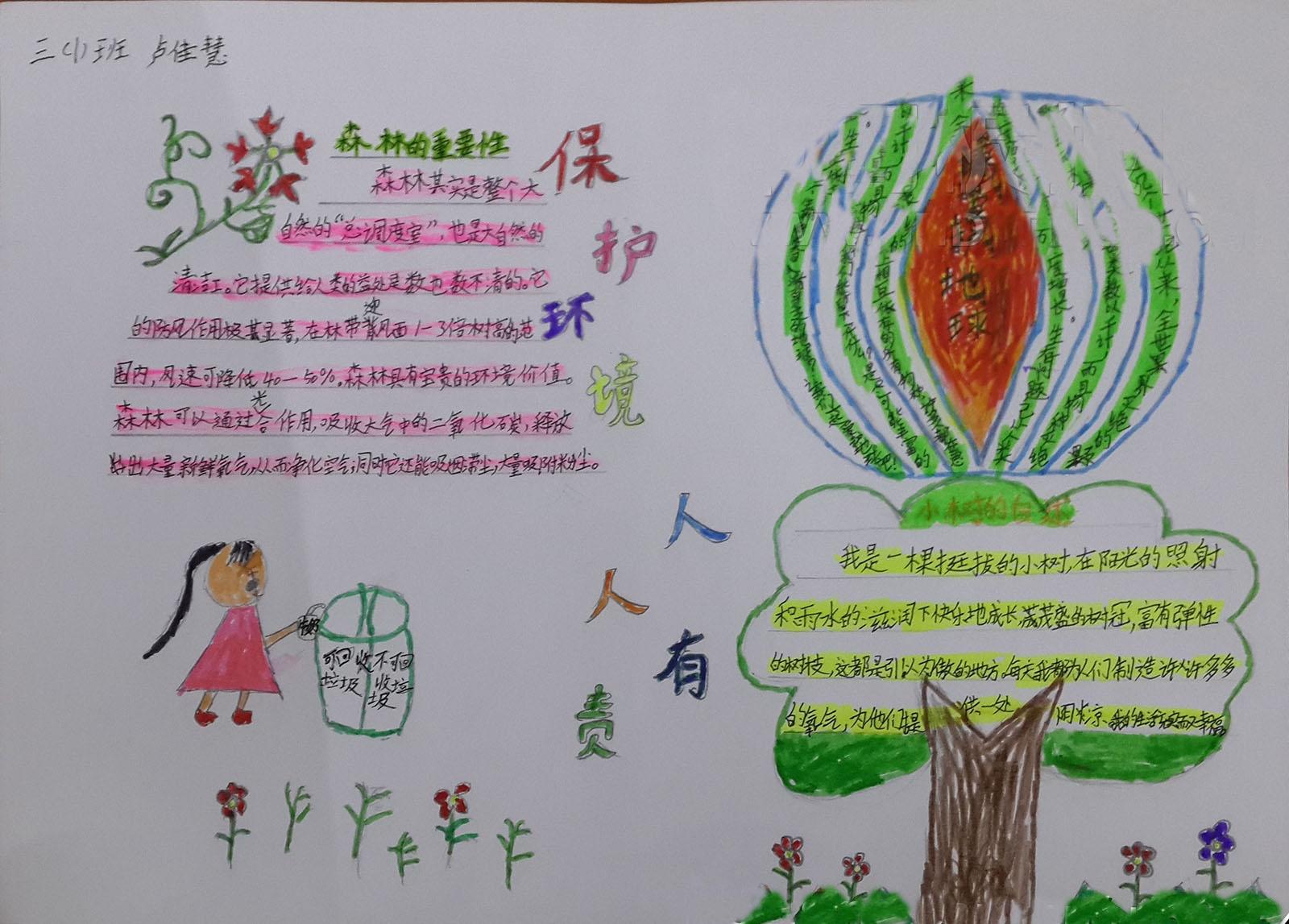 三年级手抄报:争当环保小画家