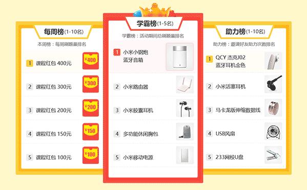 上榜有礼(你),刷题冲榜第三周中奖名单公布