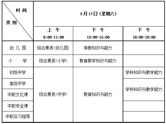 2018年上半年北京教师资格证考试时间盘点