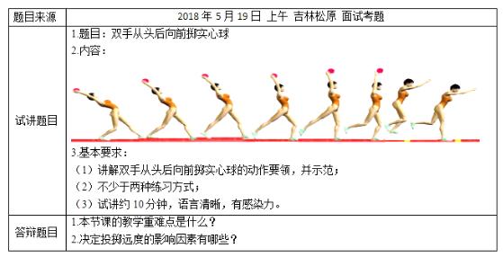 体育制度教师资格请假双手:小学从头后面试掷向前真题小学图片