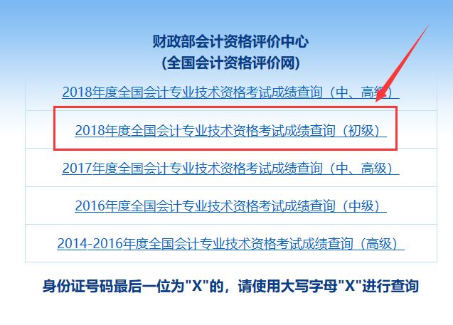 2019年初级会计成绩查询入口:全国会计资格评