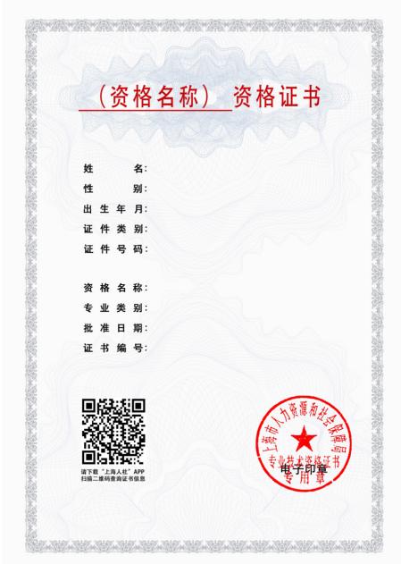 上海市专业技术资格考试电子证书样式