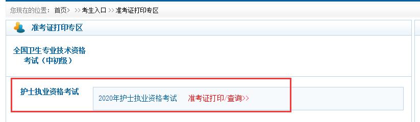 2020年护士资格考试准考证打印入口官网:中国卫生人才网